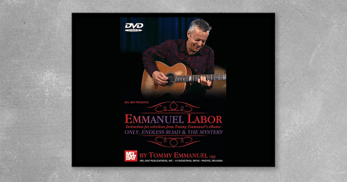 Emmanuel Labor provides a personal, one-on-one setting in which not only music aficionados can enjoy performances of some of Tommys best-loved tunes, but also offers guitar players instruction by one of the worlds best. Tommy Emmanuel, fingerstyle master and performer, shares his personal insight and technique to sixteen tunes. Pieces shown include cuts from his albums Only, Endless Road and The Mystery. As a bonus feature on the DVD a few sections are slowed down, with no compromise in pitch or video, to better see the exact execution that Tommy uses. DVD length: 166 minutes.